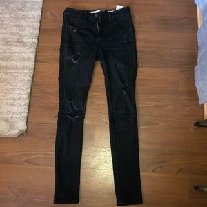 High Waisted Black Hollister Ripped Skinny Jeans